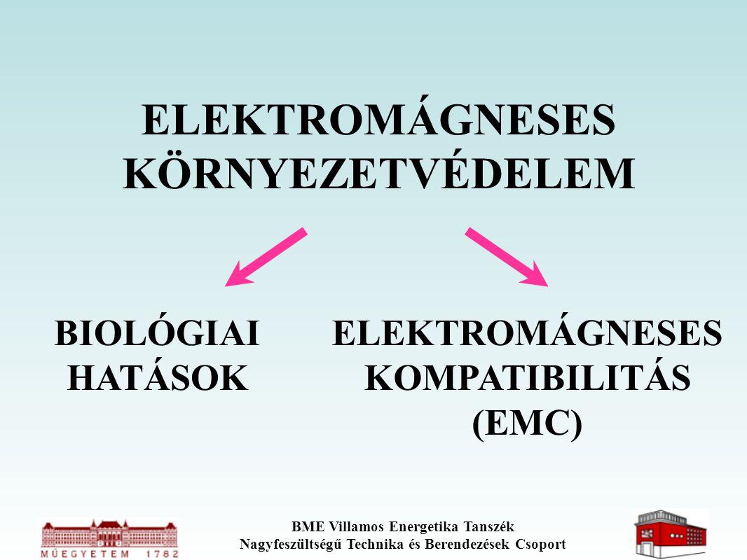 BME Villamos Energetika Tanszék Nagyfeszültségű Technika és Berendezések Csoport ELEKTROMÁGNESES KÖRNYEZETVÉDELEM BIOLÓGIAI HATÁSOK ELEKTROMÁGNESES KO