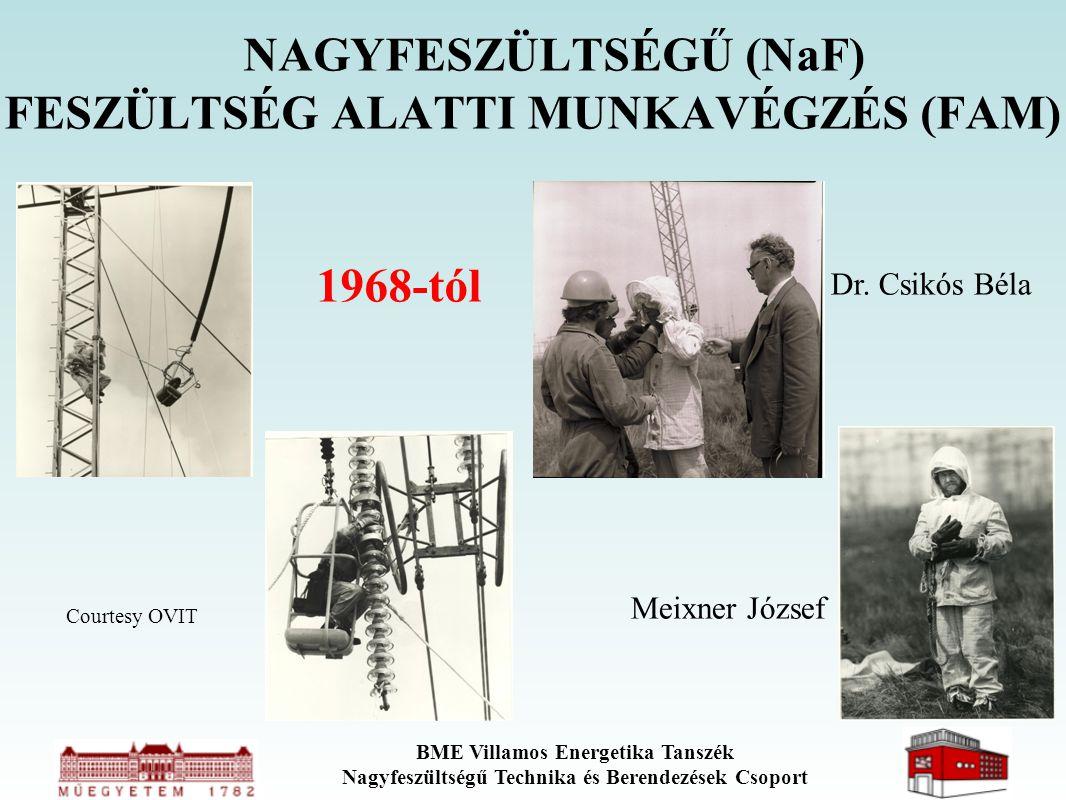 BME Villamos Energetika Tanszék Nagyfeszültségű Technika és Berendezések Csoport NAGYFESZÜLTSÉGŰ (NaF) FESZÜLTSÉG ALATTI MUNKAVÉGZÉS (FAM) 1968-tól Co