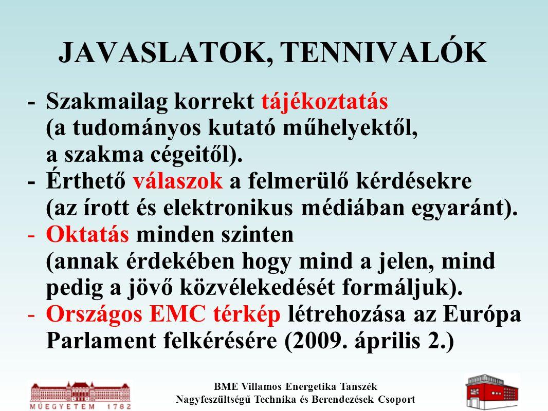 BME Villamos Energetika Tanszék Nagyfeszültségű Technika és Berendezések Csoport JAVASLATOK, TENNIVALÓK - Szakmailag korrekt tájékoztatás (a tudományo