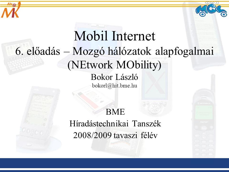 2009.03.04 Mobil Internet előadás BME-HIT 12 ITS rendszerek kommunikációs arhictektúrájával szembeni követelmények Az alkalmazások széles palettája (navigáció, multimédia, útinfó, stb.) –állandó és megbízható Internetkapcsolat szükséges –mindenütt jelenlévőség (ubiquity) –skálázhatóság (hálózatok, eszközök, járművek milliói/milliárdjai) –megbízhatóság, jó teljesítmény –flexibilitás, fejlődőképesség (egy gépjárművet nem 3 hónapra készítenek) –biztonság (AAA, privacy, confidentiality) –egyszerű használhatóság, szabványos építőelemek