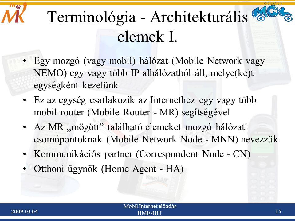 2009.03.04 Mobil Internet előadás BME-HIT 15 Terminológia - Architekturális elemek I.