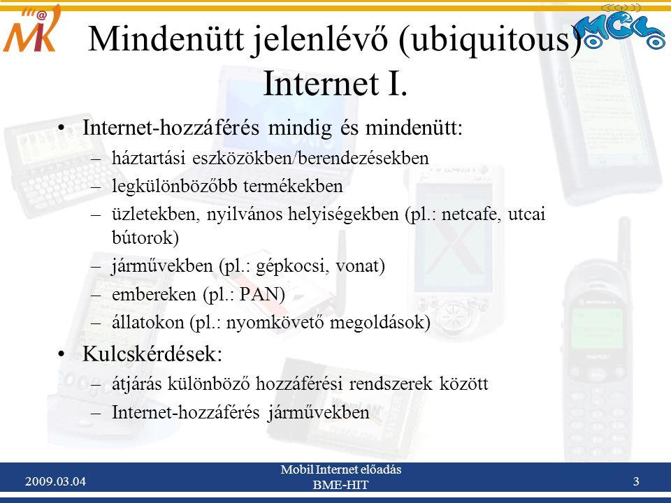 2009.03.04 Mobil Internet előadás BME-HIT 24 Egymásba ágyazott NEMO hálózatokról beszélünk, ha egy al-NEMO (sub-NEMO) hálózat egy másik mozgó hálózatot (szülő-NEMO vagy parent-NEMO) hozzáférési hálózatnak használva csatlakozik az Internethez Mozgó hálózatok ilyen hierarchiái az n-szeres beágyazott NEMO hálózatok root-NEMO: –a hierarchiában legfelül található upstream NEMO, ami az alatta elhelyezkedő NEMO-k számára Internet-hozzáférést biztosít –root-MR: a nested-NEMO mobil routere, mely az egész struktúrának biztosítja az Internet-hozzáférést parent-NEMO: –upstream NEMO, ami a hierarchiában alatta elhelyezkedő NEMO-k számára Internet-hozzáférést biztosít –parent-MR: a parent-NEMO mobil routere(i) sub-NEMO: –downstream NEMO, parent-NEMO hálózatok alárendelt hálózatai, melyek további mozgó hálózatoknak nem nyújtanak Internet-hozzáférést –sub-MR: a sub-NEMO mobil routere(i), a parent-NEMO-hoz csatlakozik Terminológia – Nested NEMO II.