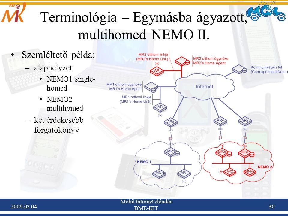 2009.03.04 Mobil Internet előadás BME-HIT 30 Szemléltető példa: –alaphelyzet: NEMO1 single- homed NEMO2 multihomed –két érdekesebb forgatókönyv Terminológia – Egymásba ágyazott, multihomed NEMO II.