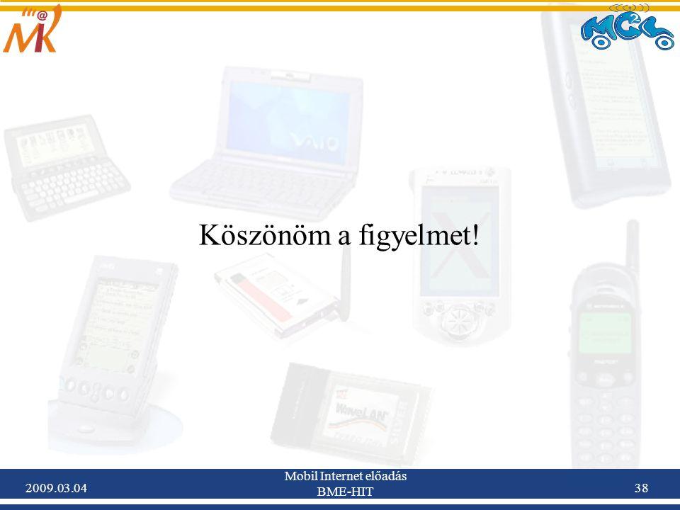 2009.03.04 Mobil Internet előadás BME-HIT 38 Köszönöm a figyelmet!