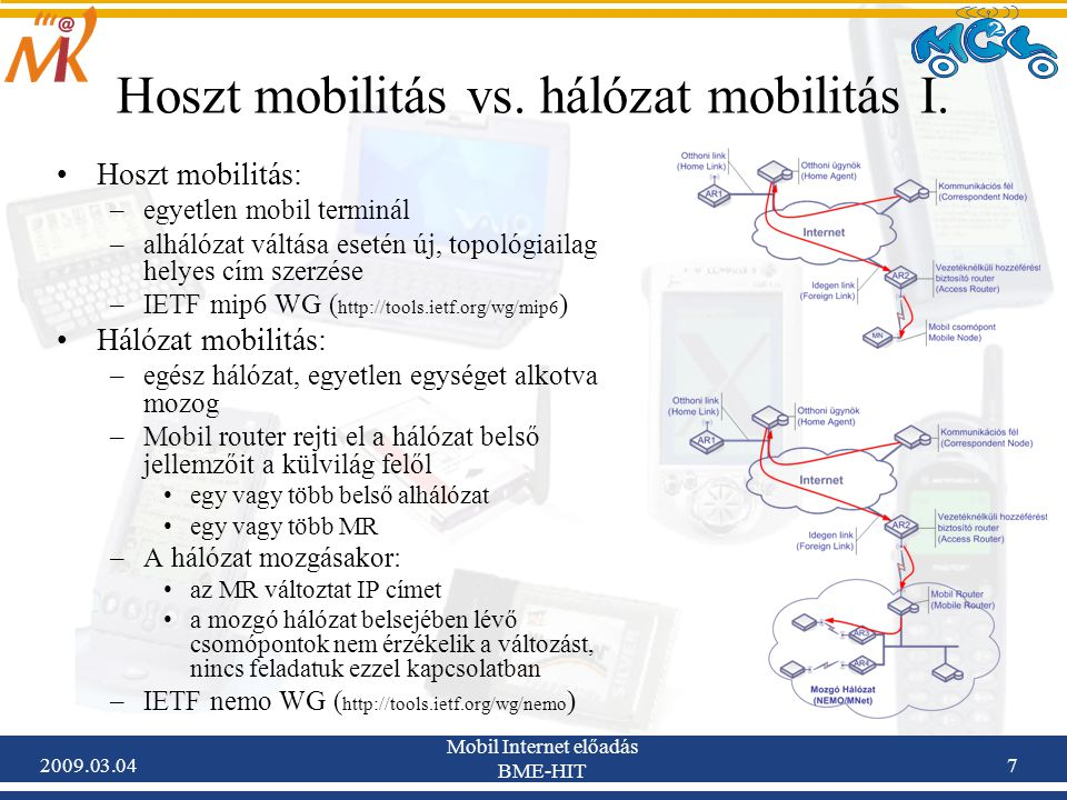 2009.03.04 Mobil Internet előadás BME-HIT 18 Internethez való csatlakozási pontját megváltoztatni képes útválasztó, mely két vagy több interfésze között képes a csomagok továbbítására (akár dinamikus routing protokollok használatával) Átjáró (gateway) a mozgó hálózat és az Internet között: Internet-hozzáférést biztosít a hálózati rétegben az egész mozgó hálózat számára Egy vagy több egress/ingress interfésszel rendelkezik Upstream irányban egyik egress interfészén küldi az adatokat az AR felé Downstream irányban egyik ingress interfészén küldi az adatokat az MNN felé Terminológia - MR