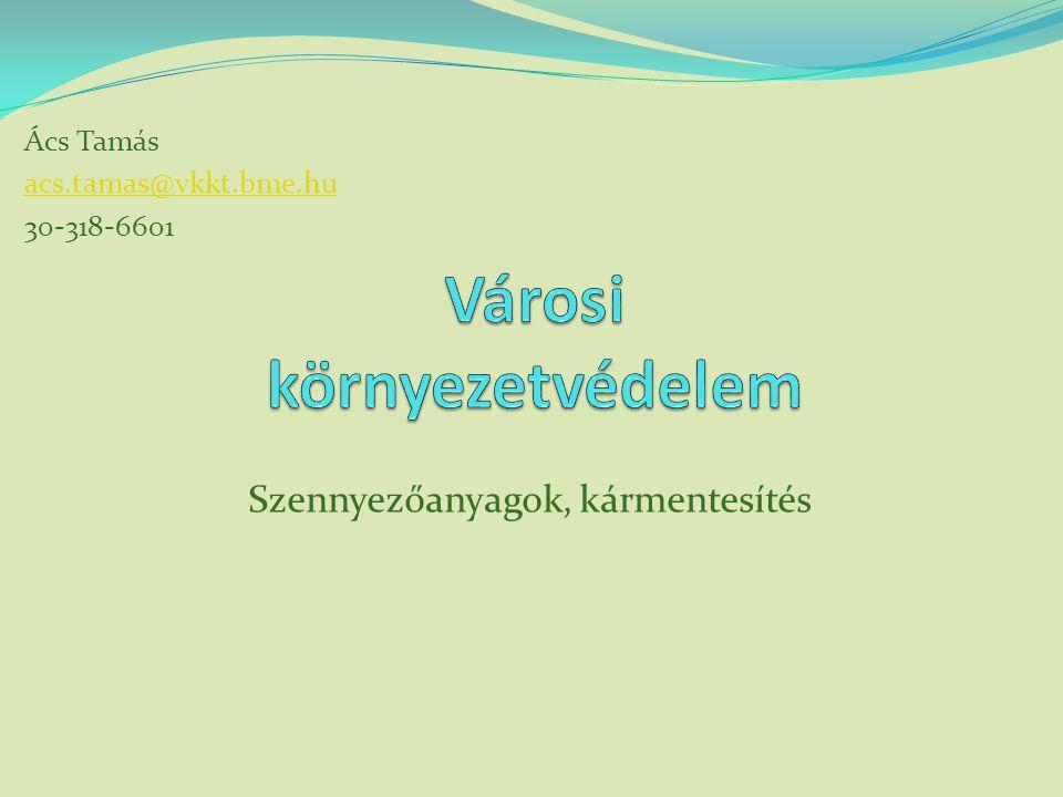 Szennyezőanyagok, kármentesítés Ács Tamás acs.tamas@vkkt.bme.hu 30-318-6601