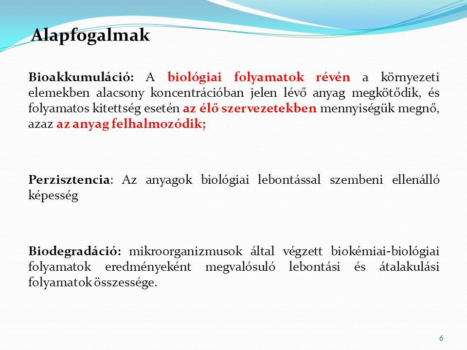 6 Bioakkumuláció: A biológiai folyamatok révén a környezeti elemekben alacsony koncentrációban jelen lévő anyag megkötődik, és folyamatos kitettség es