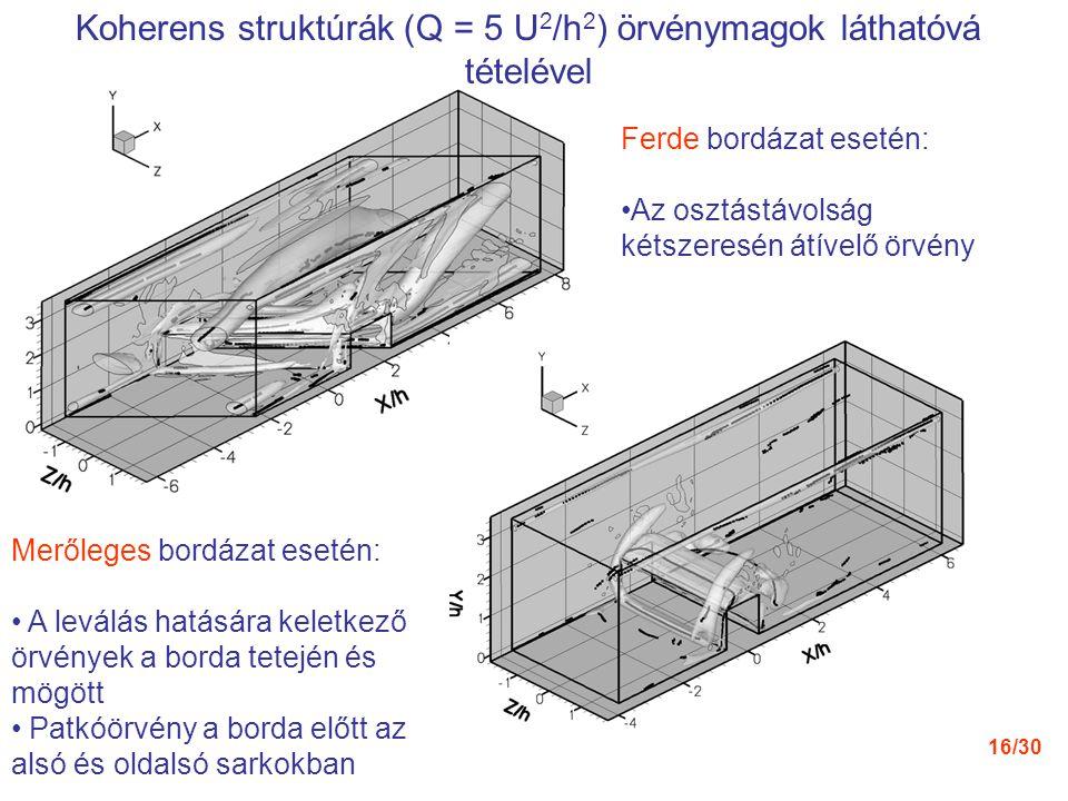 16/30 Koherens struktúrák (Q = 5 U 2 /h 2 ) örvénymagok láthatóvá tételével Ferde bordázat esetén: Az osztástávolság kétszeresén átívelő örvény Merőle