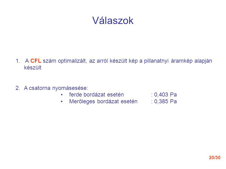 20/30 Válaszok 1. A CFL szám optimalizált, az arról készült kép a pillanatnyi áramkép alapján készült 2.A csatorna nyomásesése: ferde bordázat esetén: