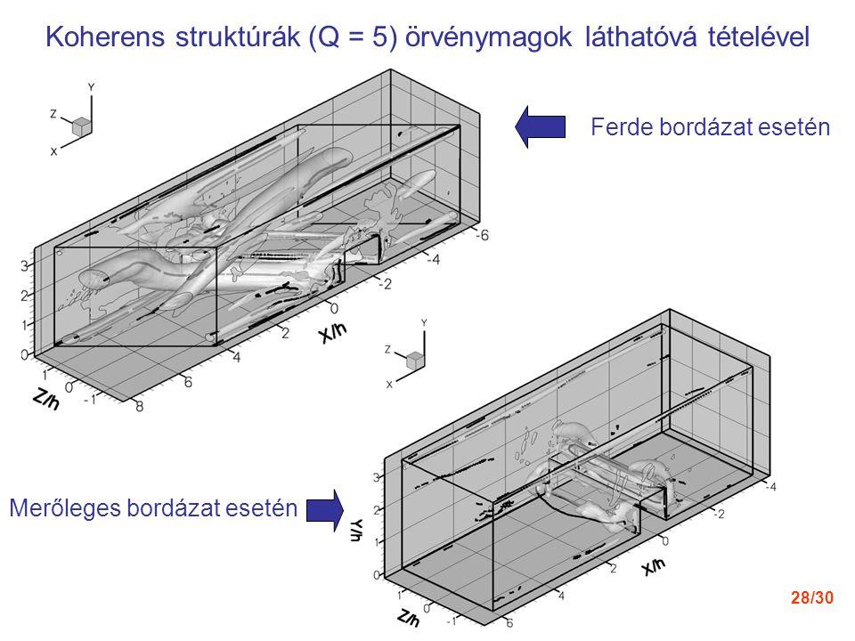 28/30 Koherens struktúrák (Q = 5) örvénymagok láthatóvá tételével Ferde bordázat esetén Merőleges bordázat esetén