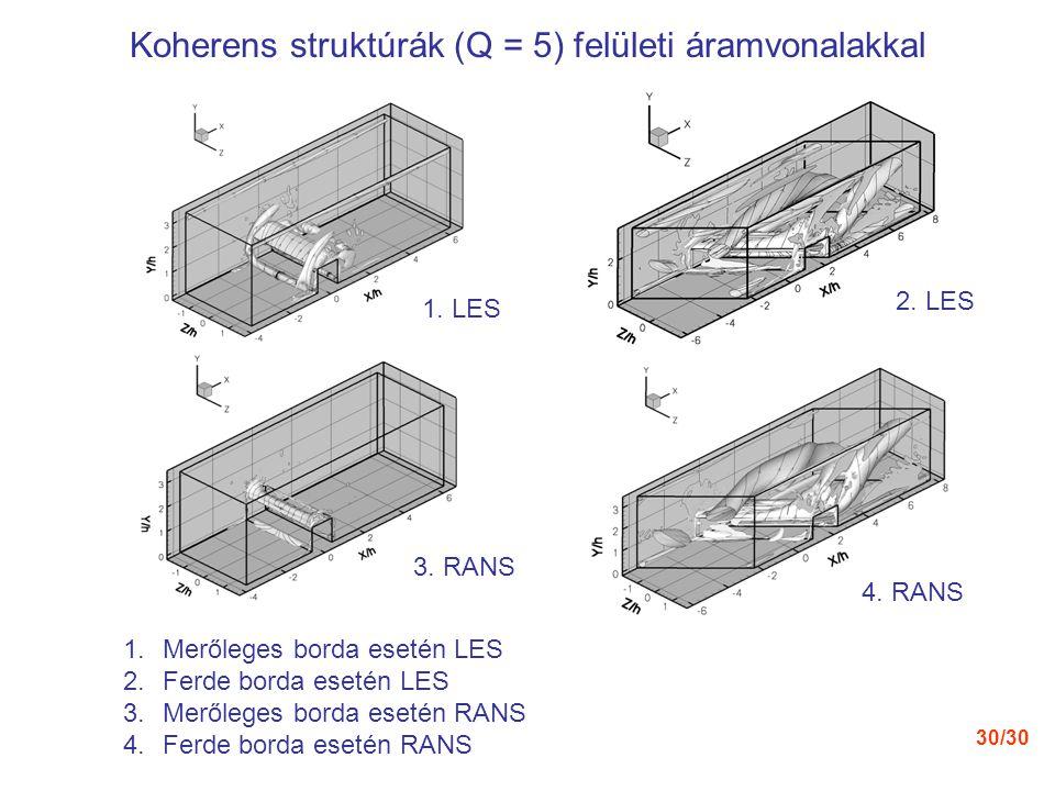 30/30 2. LES 1. LES 4. RANS 3. RANS Koherens struktúrák (Q = 5) felületi áramvonalakkal 1.Merőleges borda esetén LES 2.Ferde borda esetén LES 3.Merőle