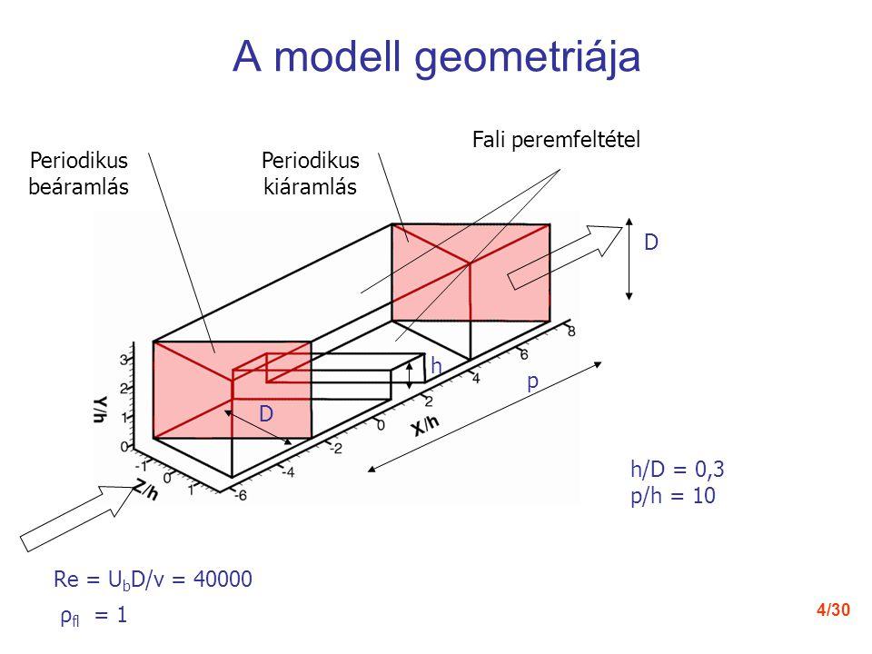 4/30 A modell geometriája p D D h Periodikus beáramlás Periodikus kiáramlás h/D = 0,3 p/h = 10 Re = U b D/ν = 40000 ρ fl = 1 Fali peremfeltétel