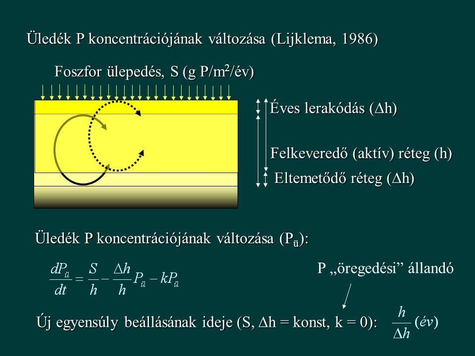 """Üledék P koncentrációjának változása (Lijklema, 1986) Felkeveredő (aktív) réteg (h) Éves lerakódás (  h) Foszfor ülepedés, S (g P/m 2 /év) Üledék P koncentrációjának változása (P ü ): Új egyensúly beállásának ideje (S,  h = konst, k = 0): Eltemetődő réteg (  h) P """"öregedési állandó"""