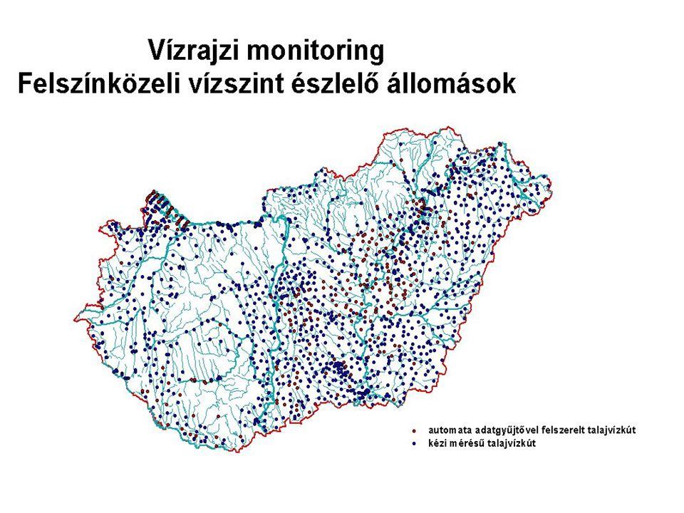 Felszín alatti vizek monitoringja (folytatás) Forrásészlelő hálózat (vízszint+vízhozam+vízhőm.+vízmin.) Forrásészlelő hálózat (vízszint+vízhozam+vízhőm.+vízmin.) –1960 - rendszeres mérés 100 forráson –1966 - 176 karsztforrás rendszeres mérése –1996-2002 - Magyaro.