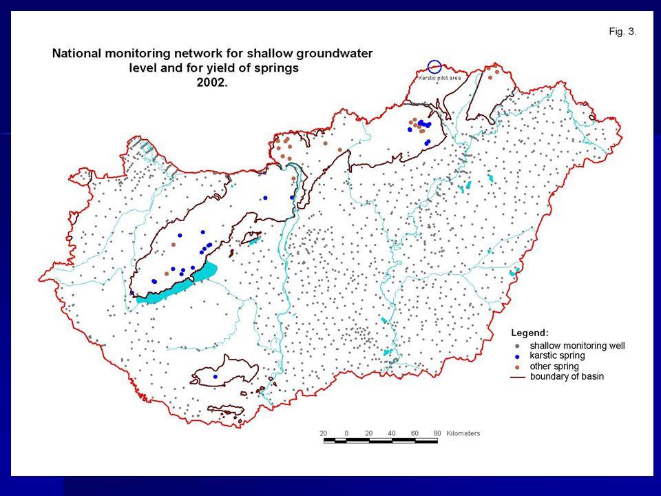 Felszín alatti vizek monitoringja (vízbázisvédelem) 1997 – üzemelő vízbázisokon kijelölt monitoringhálózat kiépítésének megkezdése 1997 – üzemelő vízbázisokon kijelölt monitoringhálózat kiépítésének megkezdése –monitoring észlelőkúthálózat bővítése –az elkészült monitoringkutak folyamatos átadása a vízmű üzemeltetőjének –az átadott kutak OSAP adatszolgáltatásba történő bevonása (1375/03 ny.sz.
