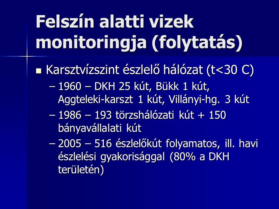 Felszín alatti vizek monitoringja (folytatás) Rétegvízszint észlelő hálózat (t< 30 C) Rétegvízszint észlelő hálózat (t< 30 C) –1957-66 - 6 figyelőkút létesítése –1975 - 75 kút észlelése –1980 - 265 helyen mérés (üzemelő és felhagyott kutak bevonásával) –1981 - 70 MÁFI kezelésű kút kigészítő információkat ad –2005 - 816 helyen észlelés (297 helyen memóriatárolós reg.