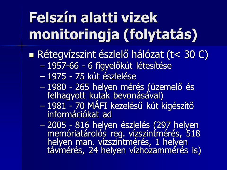 Felszín alatti vizek monitoringja (folytatás) Termálvíz figyelő hálózat (t>30 C) Termálvíz figyelő hálózat (t>30 C) –1993-tól üzemelő és felhagyott termálkutakban rendszeres nyomás ill.