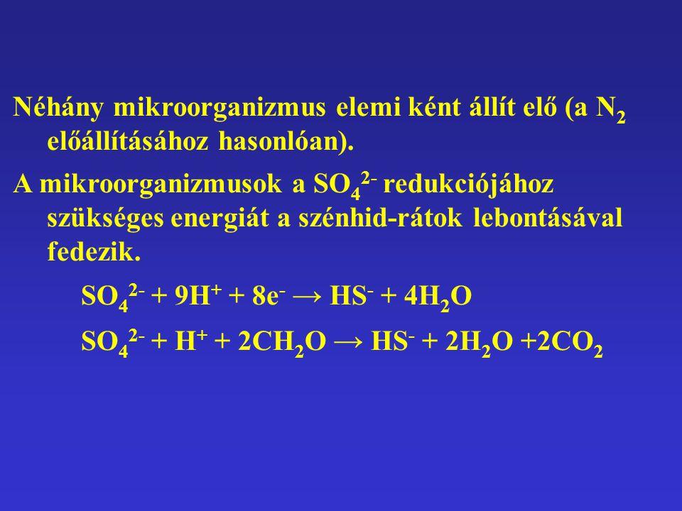 Néhány mikroorganizmus elemi ként állít elő (a N2N2 előállításához hasonlóan). A mikroorganizmusok a SO 4 2- redukciójához szükséges energiát a szénhi