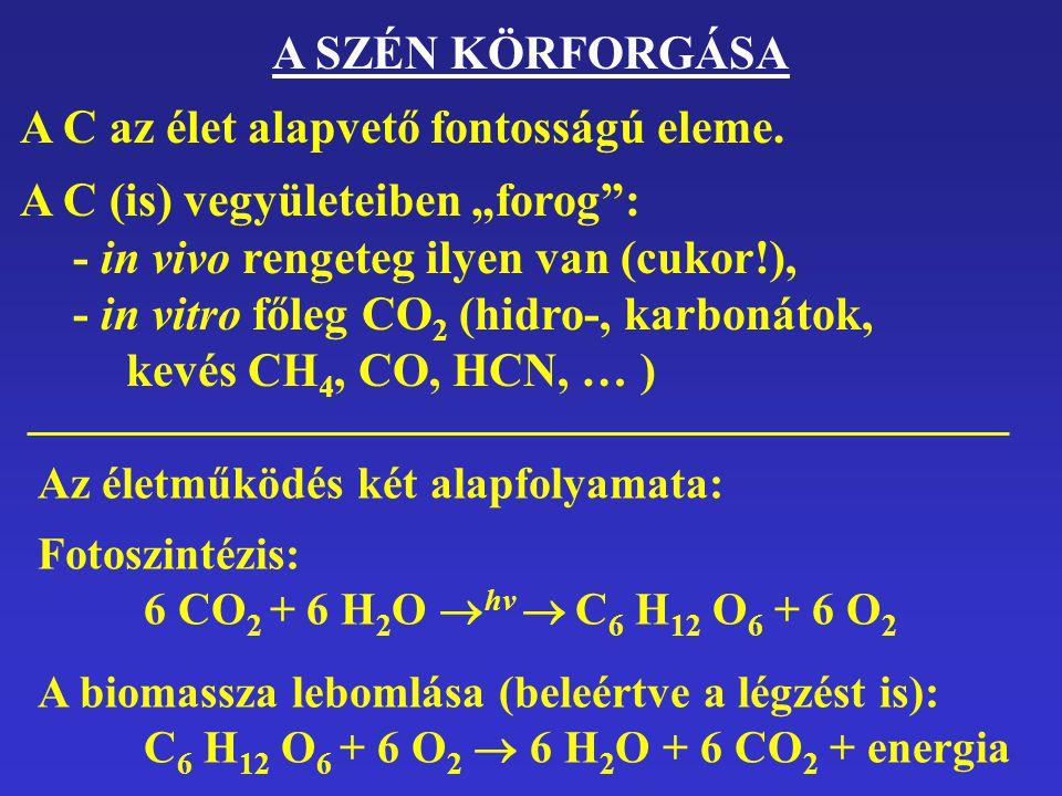 """A SZÉN KÖRFORGÁSA A C az élet alapvető fontosságú eleme. A C (is) vegyületeiben """"forog"""": - in vivo rengeteg ilyen van (cukor!), - in vitro főleg CO 2"""