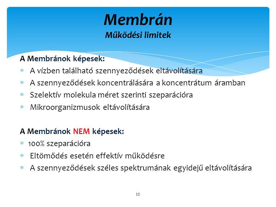 A Membránok képesek:  A vízben található szennyeződések eltávolítására  A szennyeződések koncentrálására a koncentrátum áramban  Szelektív molekula méret szerinti szeparációra  Mikroorganizmusok eltávolítására A Membránok NEM képesek:  100% szeparációra  Eltömődés esetén effektív működésre  A szennyeződések széles spektrumának egyidejű eltávolítására 12 Membrán Működési limitek