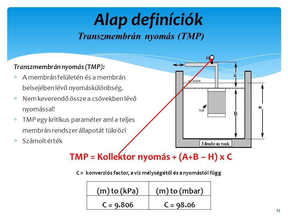 Transzmembrán nyomás (TMP):  A membrán felületén és a membrán belsejében lévő nyomáskülönbség.