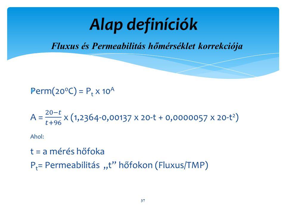  37 Alap definíciók Fluxus és Permeabilitás hőmérséklet korrekciója