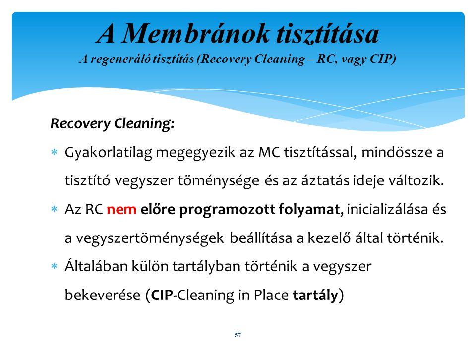 Recovery Cleaning:  Gyakorlatilag megegyezik az MC tisztítással, mindössze a tisztító vegyszer töménysége és az áztatás ideje változik.