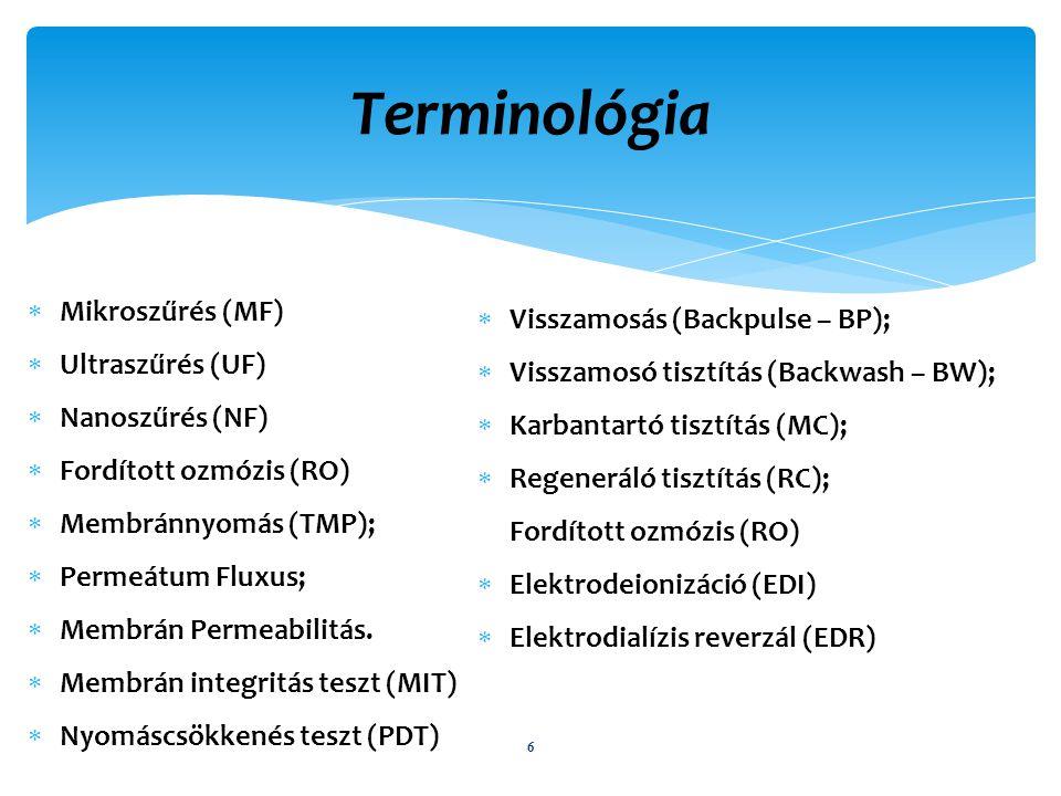 Terminológia 6  Mikroszűrés (MF)  Ultraszűrés (UF)  Nanoszűrés (NF)  Fordított ozmózis (RO)  Membránnyomás (TMP);  Permeátum Fluxus;  Membrán Permeabilitás.