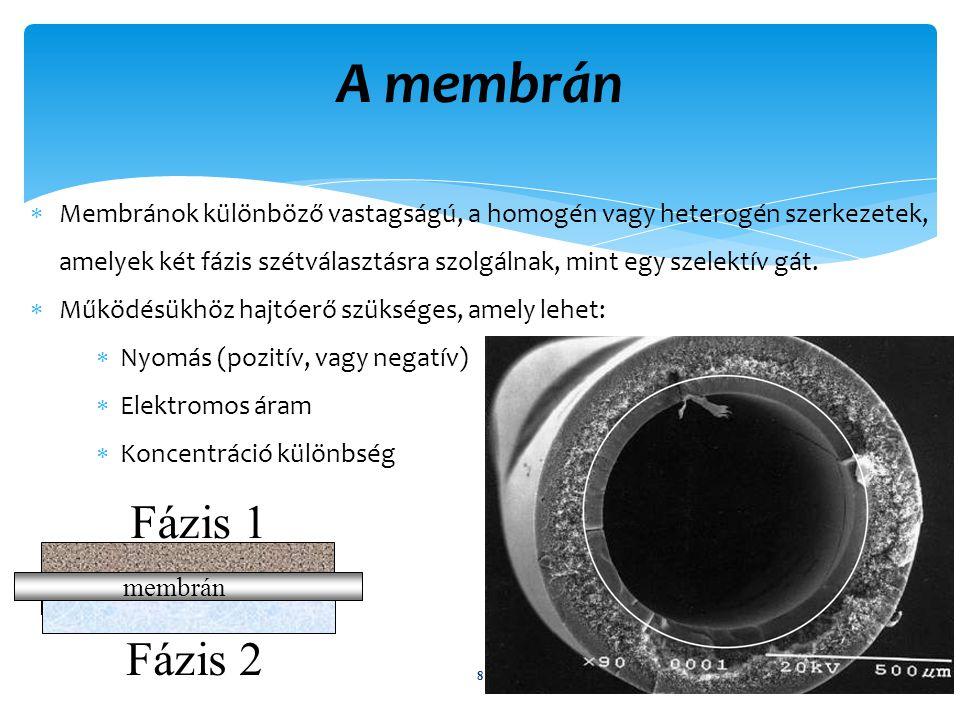 A membrán Típusok Két alaptípus létezik: Porózus (UF, MF) Nem porózus(RO, NF) általában vékony film Támasztó réteg Porózus réteg Nem porózus film Composite Membrane Cross-section UF, MF MembraneRO, NF Membrane Top Surface Cross-Section