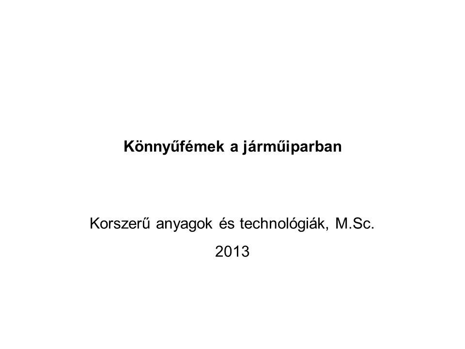 Könnyűfémek a járműiparban Korszerű anyagok és technológiák, M.Sc. 2013