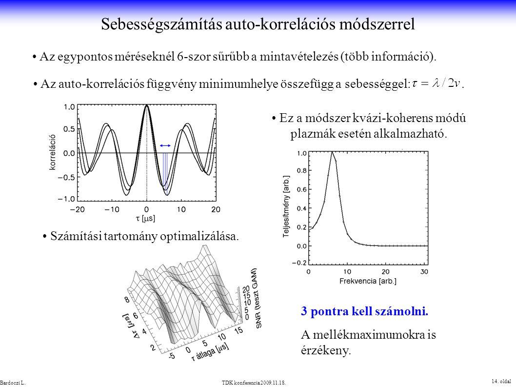 Sebességszámítás auto-korrelációs módszerrel 14. oldal TDK konferencia 2009.11.18.Bardoczi L. Az egypontos méréseknél 6-szor sűrűbb a mintavételezés (
