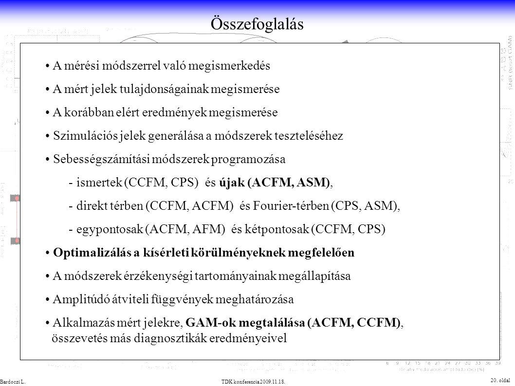 Összefoglalás 20. oldal TDK konferencia 2009.11.18.Bardoczi L. A mérési módszerrel való megismerkedés A mért jelek tulajdonságainak megismerése A korá