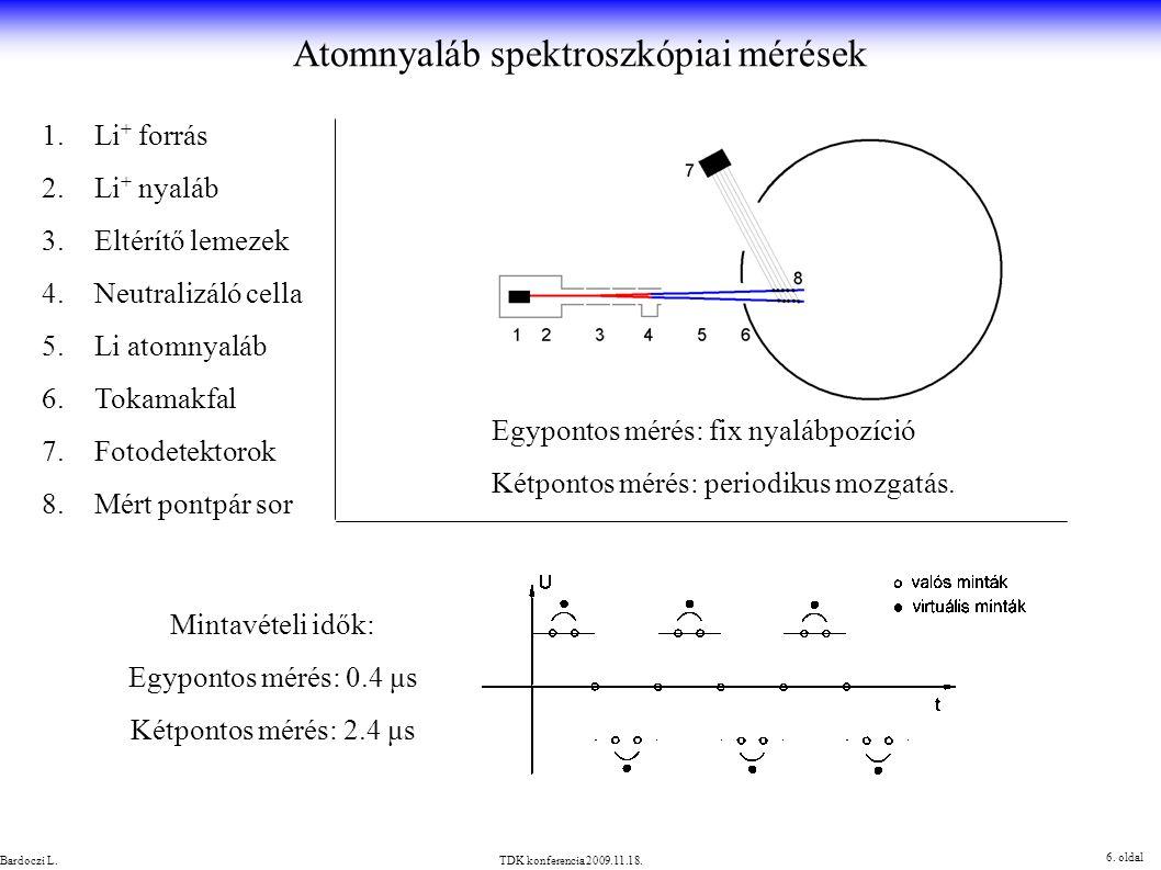 1.Li + forrás 2.Li + nyaláb 3.Eltérítő lemezek 4.Neutralizáló cella 5.Li atomnyaláb 6.Tokamakfal 7.Fotodetektorok 8.Mért pontpár sor Egypontos mérés: