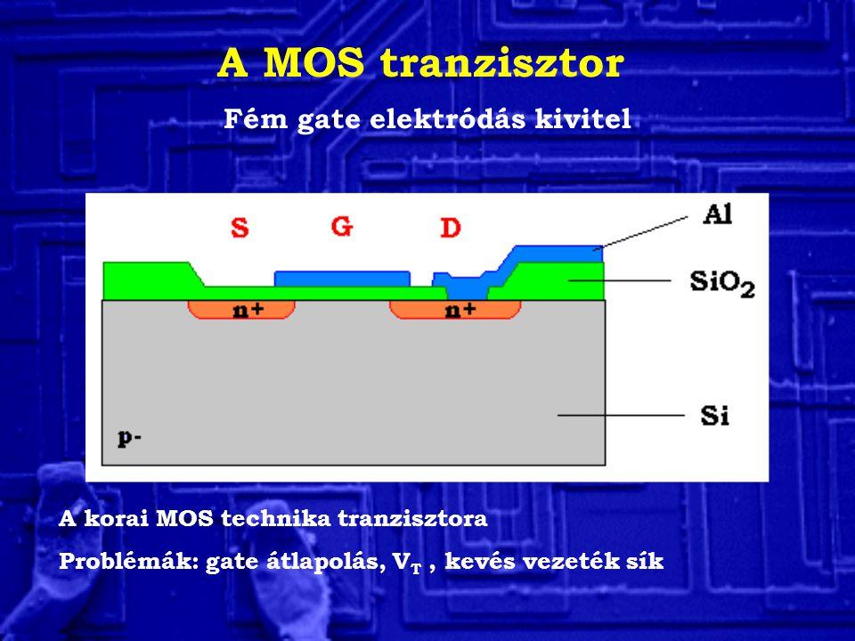 A MOS tranzisztor Fém gate elektródás kivitel A korai MOS technika tranzisztora Problémák: gate átlapolás, V T, kevés vezeték sík