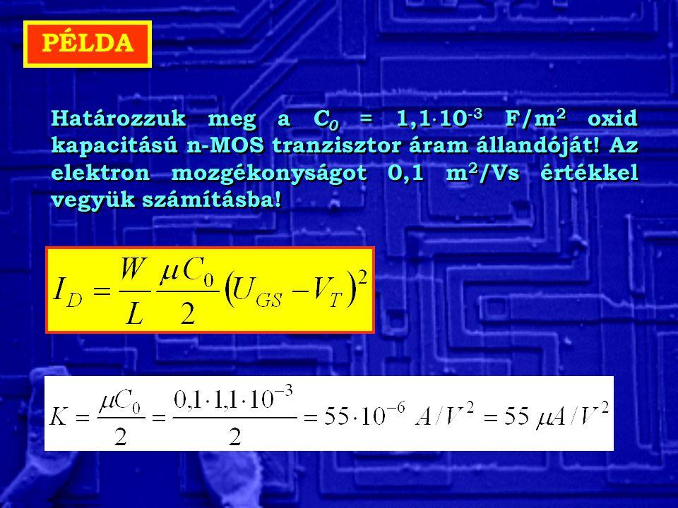 PÉLDA Határozzuk meg a C 0 = 1,1  10 -3 F/m 2 oxid kapacitású n-MOS tranzisztor áram állandóját! Az elektron mozgékonyságot 0,1 m 2 /Vs értékkel vegy