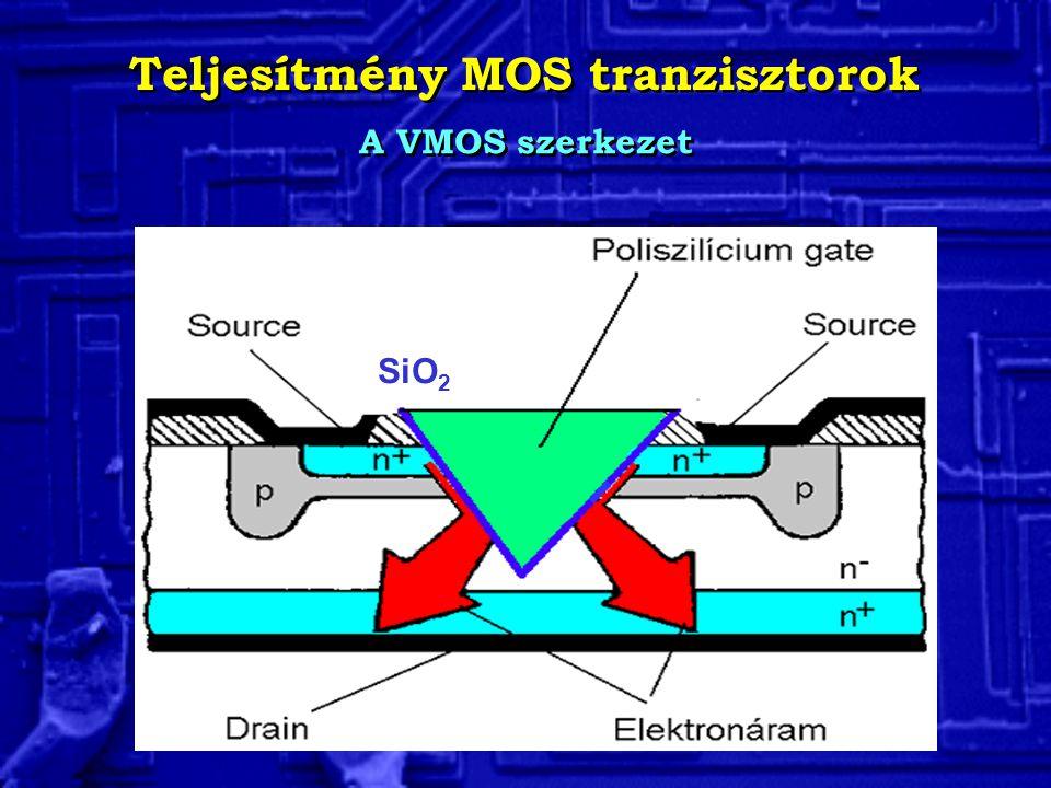 Teljesítmény MOS tranzisztorok A VMOS szerkezet SiO 2