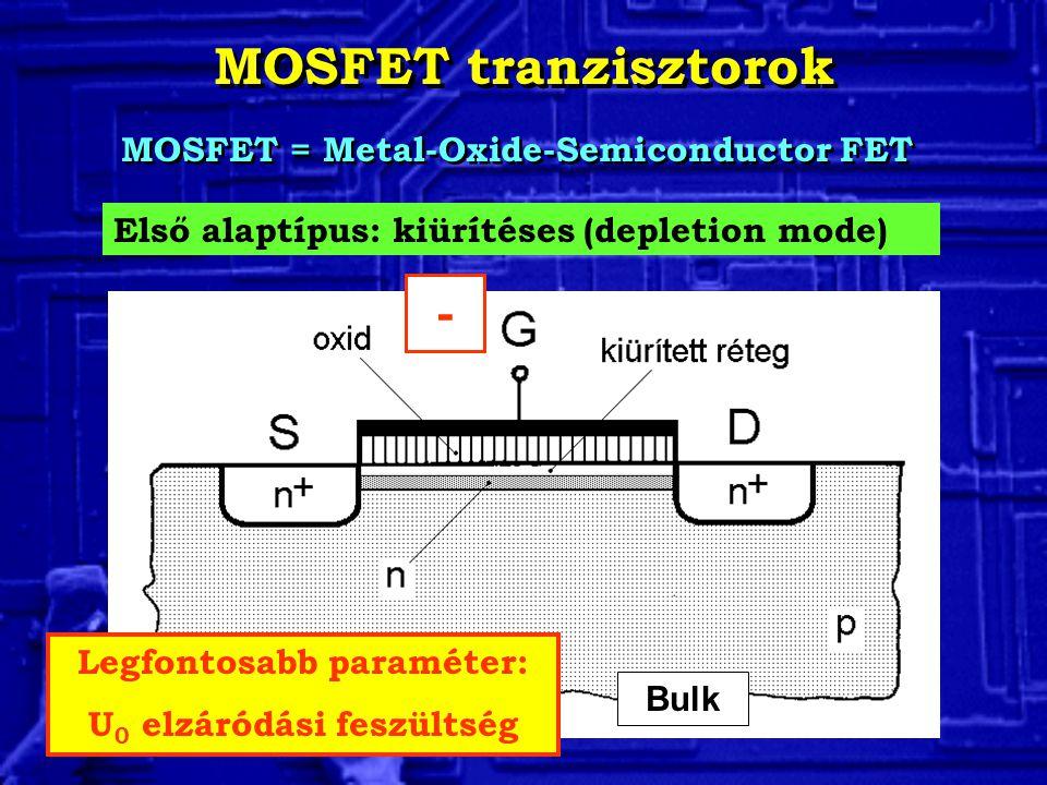 MOSFET tranzisztorok MOSFET = Metal-Oxide-Semiconductor FET Első alaptípus: kiürítéses (depletion mode) Legfontosabb paraméter: U 0 elzáródási feszült