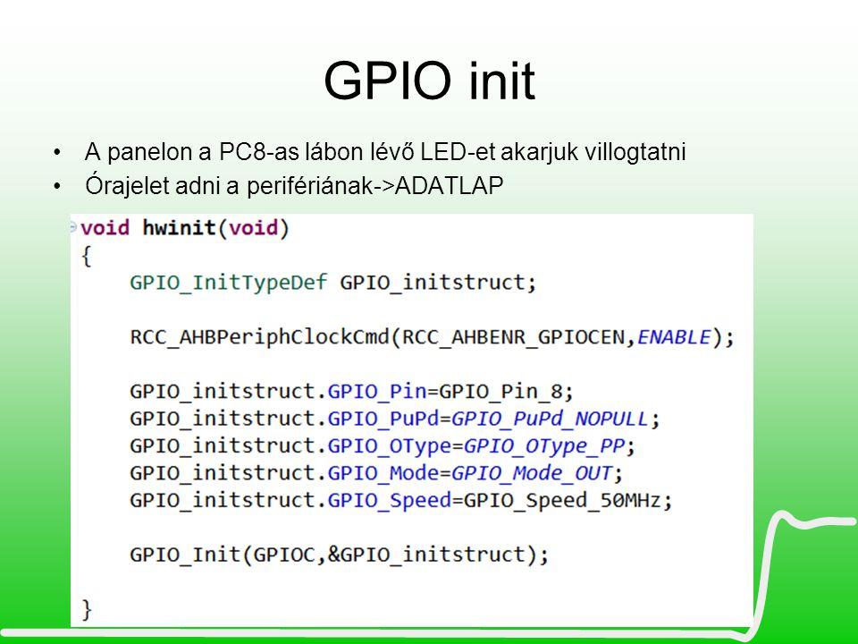 GPIO init A panelon a PC8-as lábon lévő LED-et akarjuk villogtatni Órajelet adni a perifériának->ADATLAP