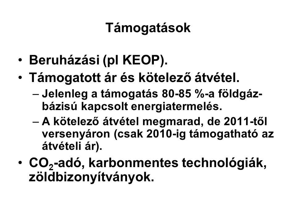 Támogatások Beruházási (pl KEOP). Támogatott ár és kötelező átvétel. –Jelenleg a támogatás 80-85 %-a földgáz- bázisú kapcsolt energiatermelés. –A köte