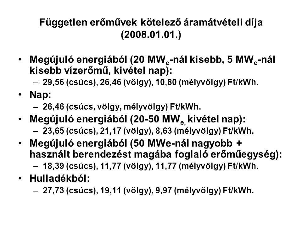 Független erőművek kötelező áramátvételi díja (2008.01.01.) Megújuló energiából (20 MW e -nál kisebb, 5 MW e -nál kisebb vízerőmű, kivétel nap): –29,5