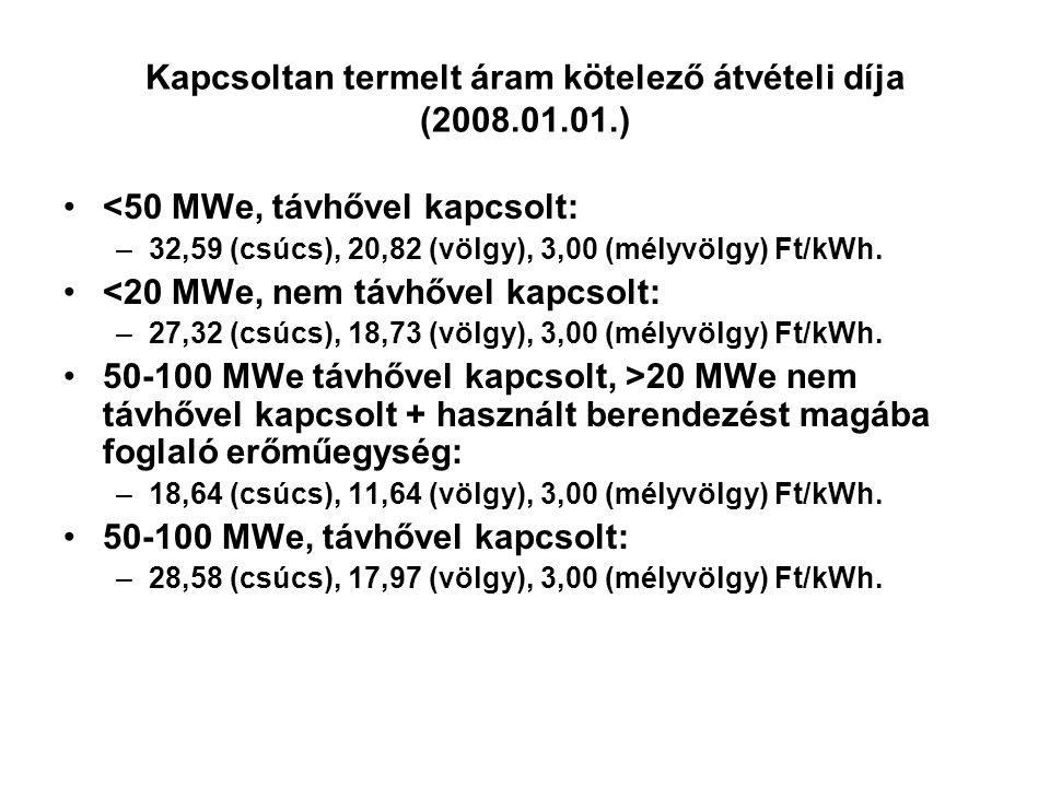 Kapcsoltan termelt áram kötelező átvételi díja (2008.01.01.) <50 MWe, távhővel kapcsolt: –32,59 (csúcs), 20,82 (völgy), 3,00 (mélyvölgy) Ft/kWh. <20 M