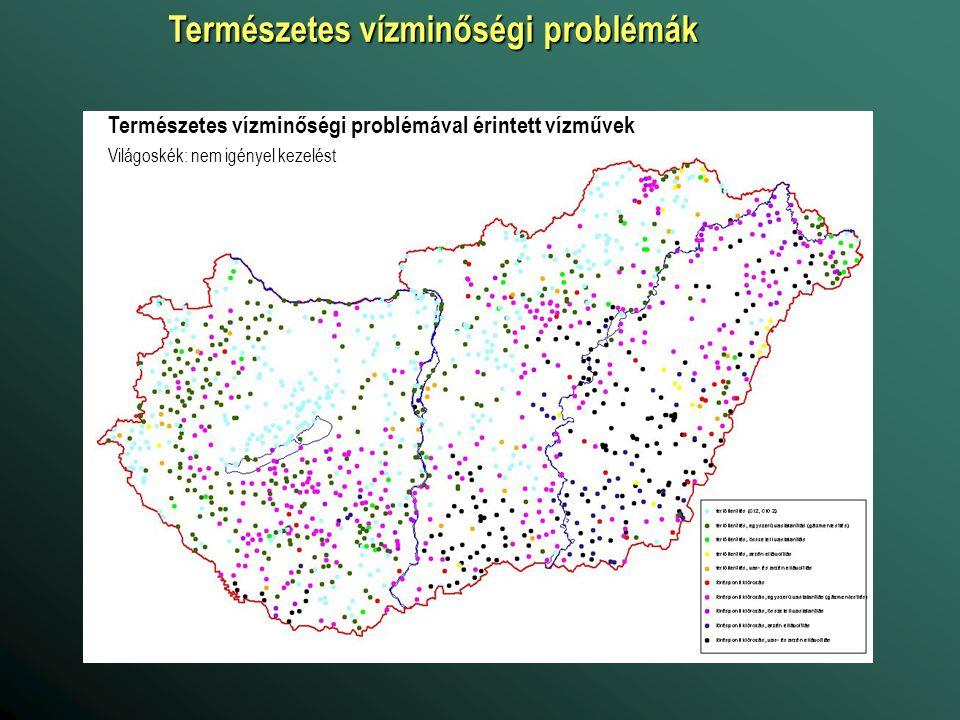Természetes vízminőségi problémával érintett vízművek Világoskék: nem igényel kezelést Természetes vízminőségi problémák