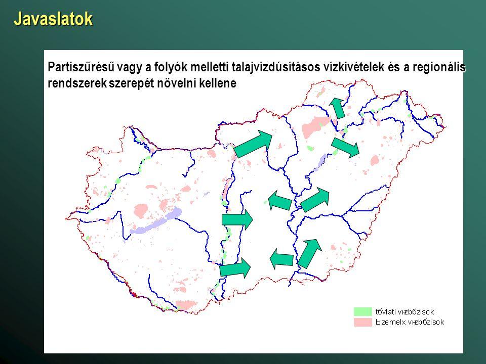 Javaslatok Partiszűrésű vagy a folyók melletti talajvízdúsításos vízkivételek és a regionális rendszerek szerepét növelni kellene