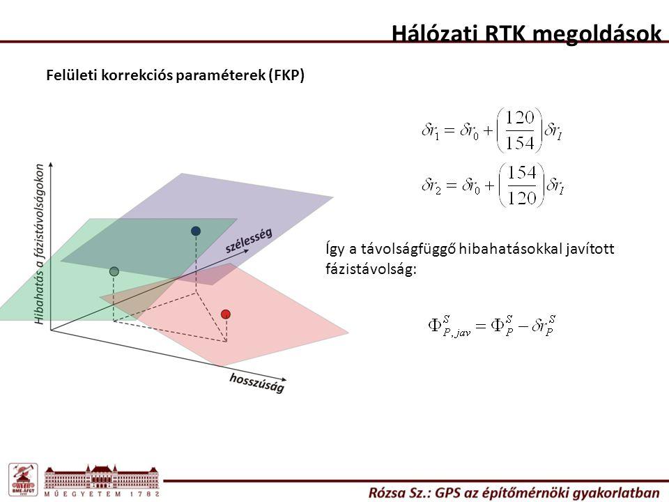 Hálózati RTK megoldások Felületi korrekciós paraméterek (FKP) Így a távolságfüggő hibahatásokkal javított fázistávolság: