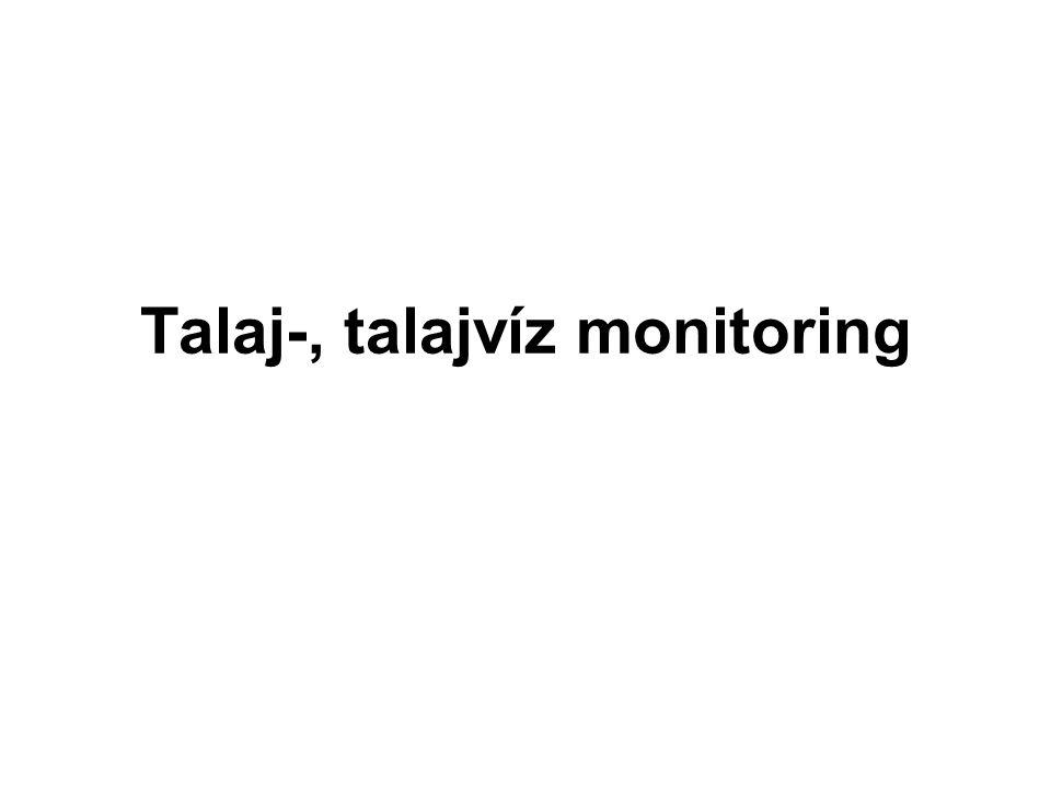 Kármentesítési monitoring (talaj, talajvíz) Szennyezett területek szennyezettségi állapotára vonatkozó tényfeltárás, A kármentesítés szakaszaiban szükséges monitoring Vonatkozó jogszabályok: –A felszín alatti vizek védelméről szóló 219/2004.