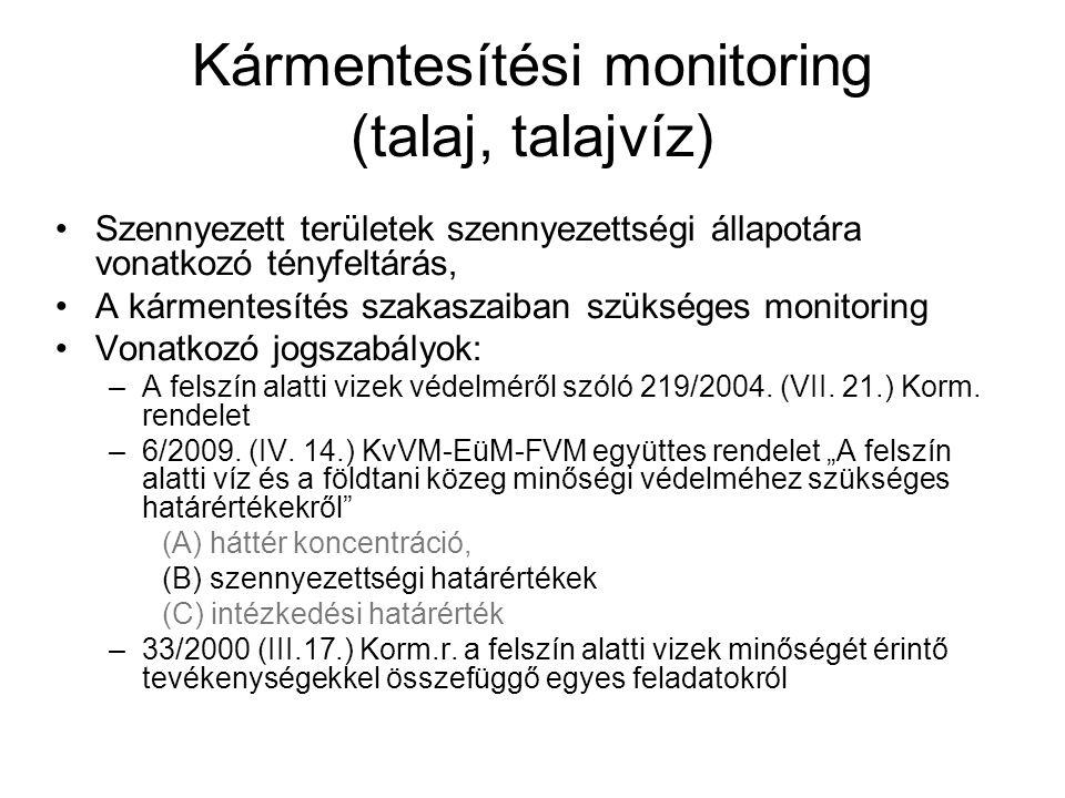 Kármentesítési monitoring (talaj, talajvíz) Szennyezett területek szennyezettségi állapotára vonatkozó tényfeltárás, A kármentesítés szakaszaiban szük