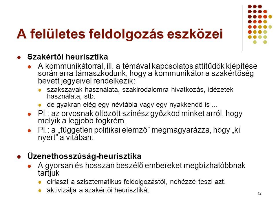 12 A felületes feldolgozás eszközei Szakértői heurisztika A kommunikátorral, ill.