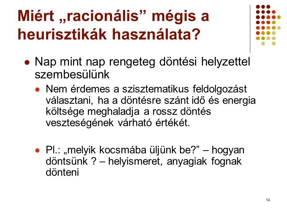 """14 Miért """"racionális mégis a heurisztikák használata."""