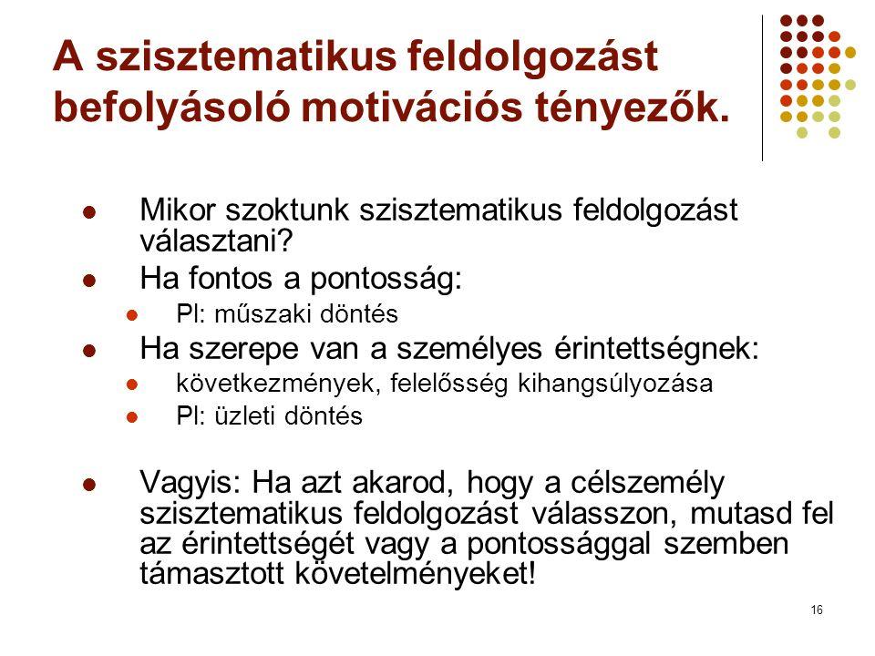 16 A szisztematikus feldolgozást befolyásoló motivációs tényezők.