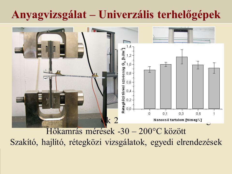 Anyagvizsgálat – Univerzális terhelőgépek Univerzális terhelőgépek 20 N – 50 kN méréshatárig Hőkamrás mérések -30 – 200°C között Szakító, hajlító, rét